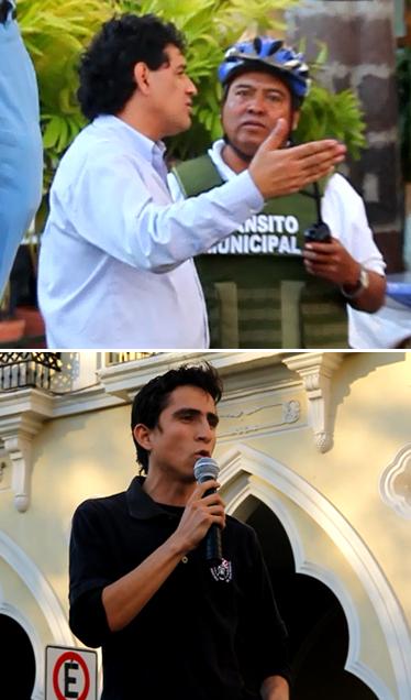 Al aumentar la fila de automóviles frente al mitin de Morena, un agente de tránsito se acercó a uno de los organizadores (arriba). En la imagen inferior, Vladimir Parra Barragán.