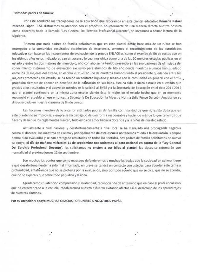 Recado enviado a los padres de familia de la escuela primaria Rafael Macedo López de Villa de Álvarez.