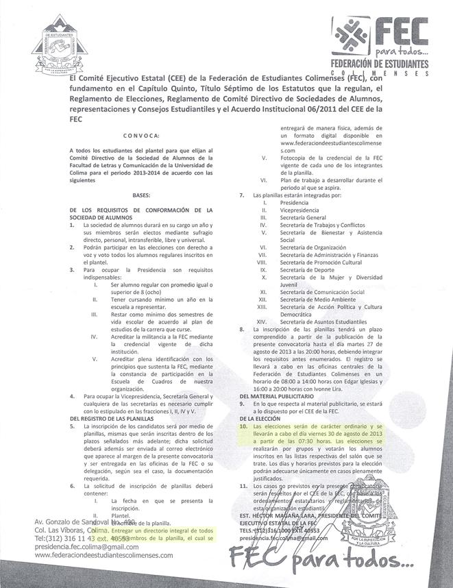 Esta es la convocatoria que la Federación de Estudiantes Colimenses (FEC) publicó en la Facultad de Letras y Comunicación.