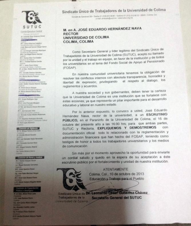 Leonardo Gutiérrez invita al rector Eduardo Hernández a transparentar las finanzas del FOSAP.