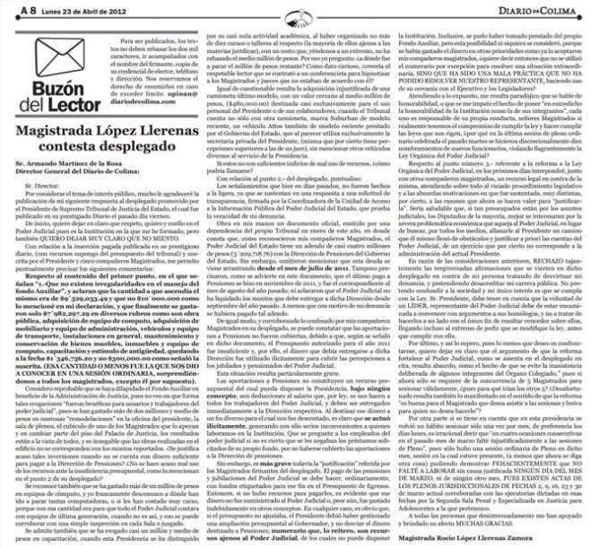 Acusación de la Magistrada López Llerenas contra el Presidente García Rincón.