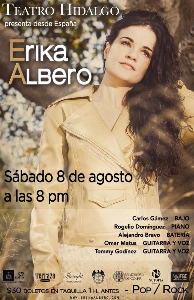 La cantante española Erika Albero presentará su disco en el Teatro Hidalgo con espectacular concierto